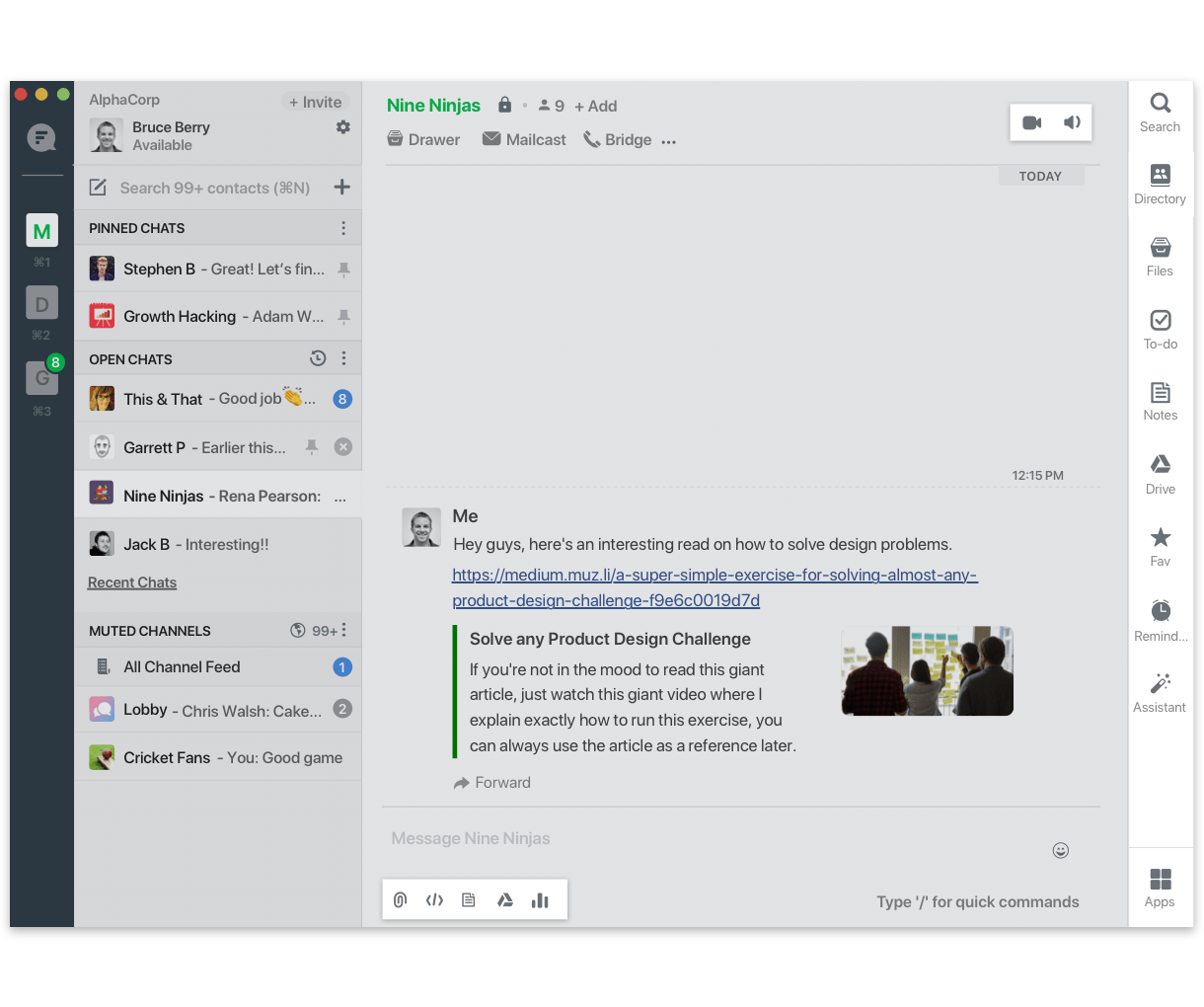 Let users invoke your app from the chat bar, attachment picker & app launcher
